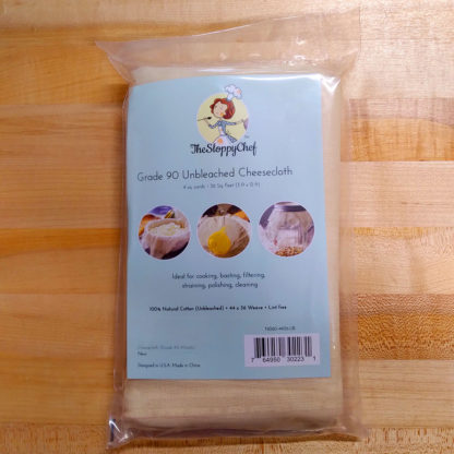 An unopened package of cheesecloth.
